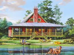 cabin style home plans waterfront house plans the house plan shop