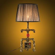 Nightstand Lamp With Usb Port Industrial Robot Table Lamp With Fabric Shade With Socket And Usb