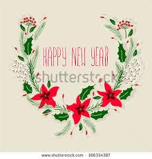 wreath merry happy new stock vector 544403311