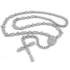 white rosary 14k white gold iced out rosary shapes chain niv s bling