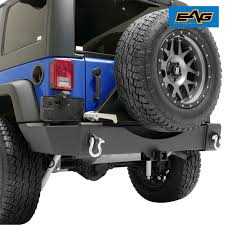 jeep rear bumper eag rear bumper w tire carrier license plate relocation mount for
