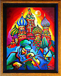 russian home decor handmade abstract pure colorful church of russian oil painting on