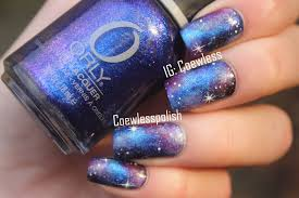 blue black and white galaxy nail art