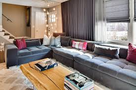 blooming dusk tufted sofa living room eclectic with low couch