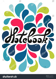 Notebook Cover Decoration Notebook Lettering Decorative Colorful Floral Drops Stock Vector