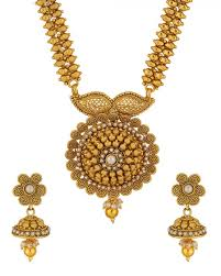 long necklace set images Purchase online designer yellow gold plated long necklace set jpg