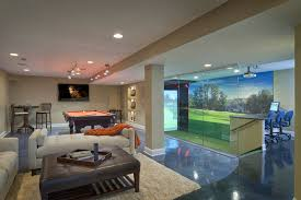 golf sim behind glass connected with pool room new home ideas