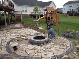Flagstone Firepit Construction Of Canadian Flagstone Patio With Brick Paver Accent