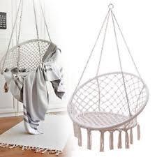 black garden woven hanging cotton macrame hammock chair swing