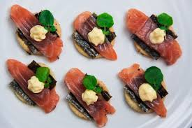 canapé made in home cured salmon canapés with seaweed crackers simple yet