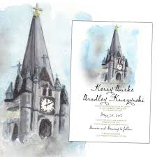 Wedding Invitations Kerry Watercolor Church Of The Gesu For A Fancy Milwaukee Couple