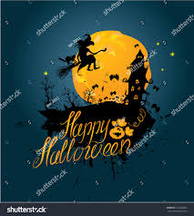 halloween night silhouette witch cat flying stock illustration