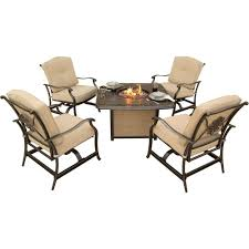 Hanover Patio Furniture Hanover Traditions 5 Piece Patio Fire Pit Seating Set With Cast