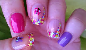 life world women multicolor butterfly dot nail art by toothpick