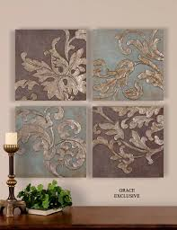 Wholesale Wall Decor Charming Metal Wall Plaques Accents Description Damask Relief Wall