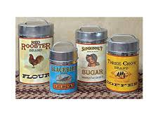 rustic country canisters set of 4 food safe vintage kitchen retro