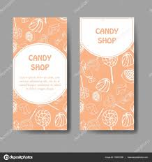 vector template for business card with hand drawn candy sweets
