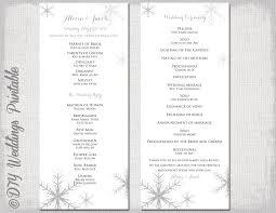 Wedding Bulletin Template Winter Wedding Program Template Snowflake Wedding