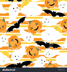 seamless pattern cute pumpkin bat ghost stock vector 626676446