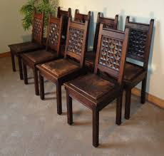 set of 8 oak u0026 leather gothic jacobean country dining chairs