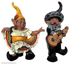 mariachi guitar player and mexican hat dancer garden gnome