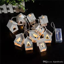 10 mini light string holiday decoration white wooden house heart led 10 fairy string
