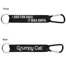 Grumpy Cat Meme I Had Fun Once - com gund grumpy cat meme i had fun once lanyard and carbiner