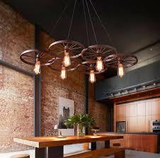 loft pendant lights wheel chandelier rustic vintage retro
