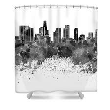 los angeles skyline in black watercolor on white background shower
