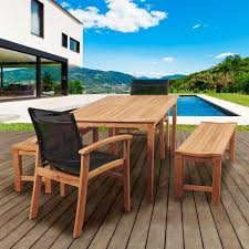 Patio Dining Set by Amazonia Gloucester 6 Person Sling Patio Dining Set With Teak