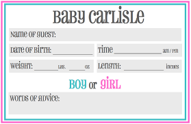 baby shower guessing printable baby shower guessing prediction cards gender