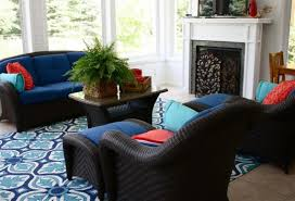 living room sky and ocean blue flower pattern living room under