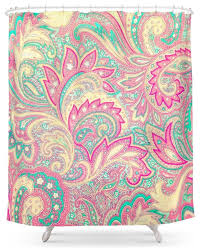 society6 pink turquoise girly chic floral paisley pattern shower