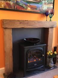 fire surround 15 x 15cm rustic oak beam mantle wood n wax