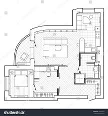 black white architectural plan house layout stock vector 595766423