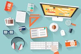 Graphic Designer Desk Flat Design Office Desk Illustrations Creative Market