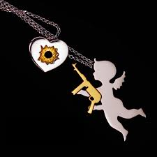 and me necklace stupid cupid modern cupid necklace silver and gold jewelry