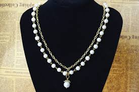 necklace designs making images Office lady fashion how to make long white pearl and golden jpg