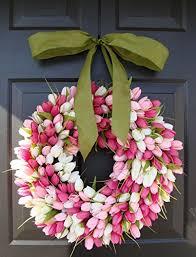 Tulip Wreath Amazon Com Elegant Holidays Handmade Pink White Silk Tulip Wreath