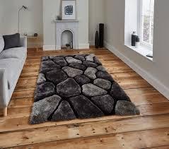 black u0026 grey pebble rug shaggy pile noble house soft hand tufted