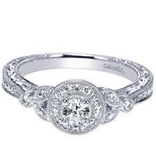 vintage halo engagement rings 14k 42cttw vintage halo engagement ring mullen jewelers