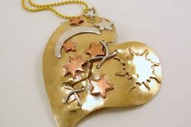 metal heart necklace images Mixed metals broken mended heart with celestial theme necklace jpg