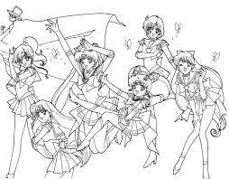 sailor moon are together her friend coloring page for kids