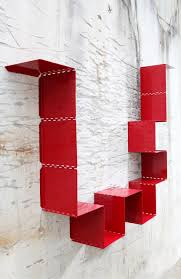 4 Sided Bookshelf 3 Modern Red Metal Bookshelves