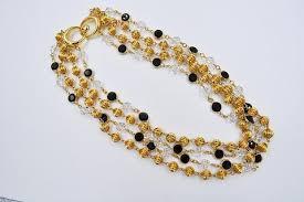 swarovski crystal necklace gold images Vintage swarovski sal multi strand crystal necklace gold black jpg