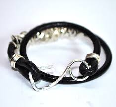 leather bracelet with silver clasp images Round black leather bracelet with silver clasp la tienda jpg