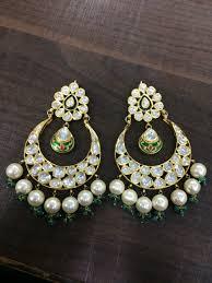 danglers earrings design 22k gold diamond polki designer kundan danglers with pearl
