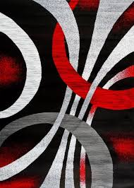black red abstract contemporary area rugs 5x8 8x11 bargain
