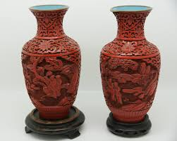 Cinnabar Vases Pair Of Cinnabar Lacquer Baluster Vases Chinese Art In Scotland