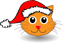 cat face c oon with santa hat xmas christmas coloring book